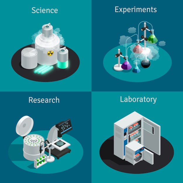 Scientific laboratory 2x2 isometric concept with substance for experiment and equipment for research Free Vector