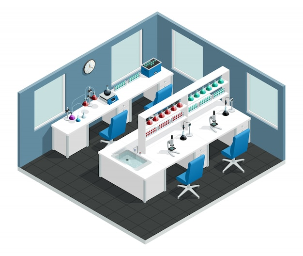 Scientific laboratory interior concept with desk to conduct the experiment and flask with chemical reagents Free Vector