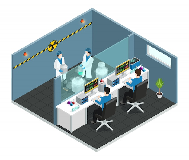 Scientific laboratory isometric concept with  assistants working in medical chemical or biological lab interior Free Vector
