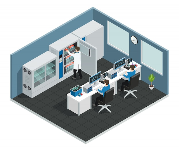 Scientific laboratory workplace concept with equipment for research and scientists looking at computer screen Free Vector