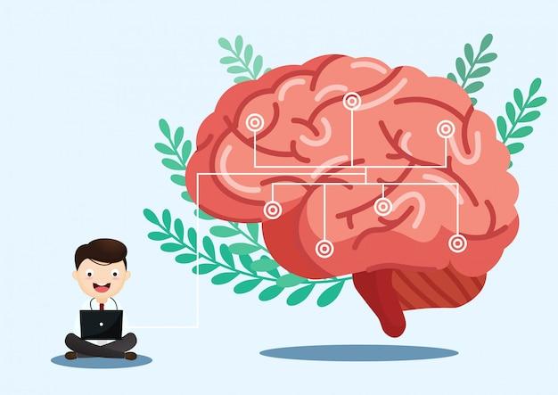 Научная медицинская иллюстрация инсульта человеческого мозга Premium векторы