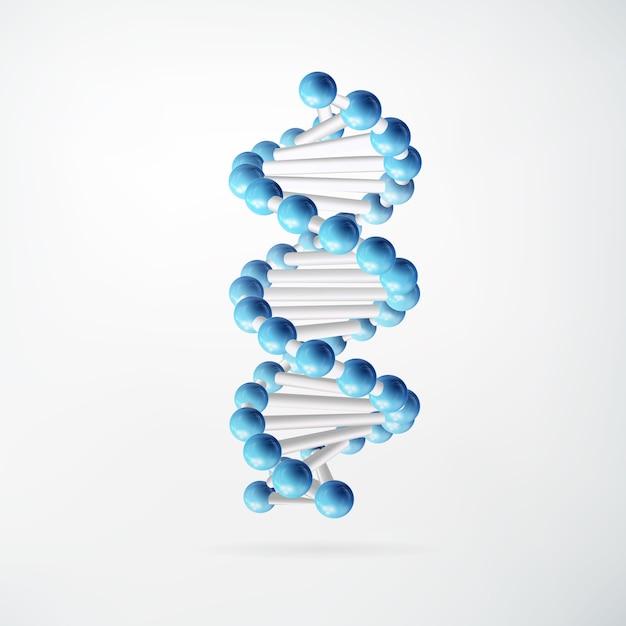 Научная молекулярная абстрактная концепция с синими связанными атомами в реалистическом стиле на белом изолированном Бесплатные векторы