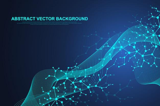 Научная молекула фон для медицины, науки, техники, химии. волны текут. обои или баннер со структурой молекул днк, точки, линии. геометрическая динамика Premium векторы
