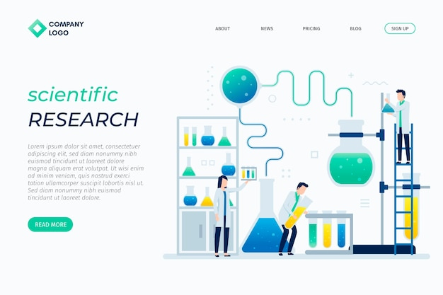 Scientific research flat design landing page template Free Vector