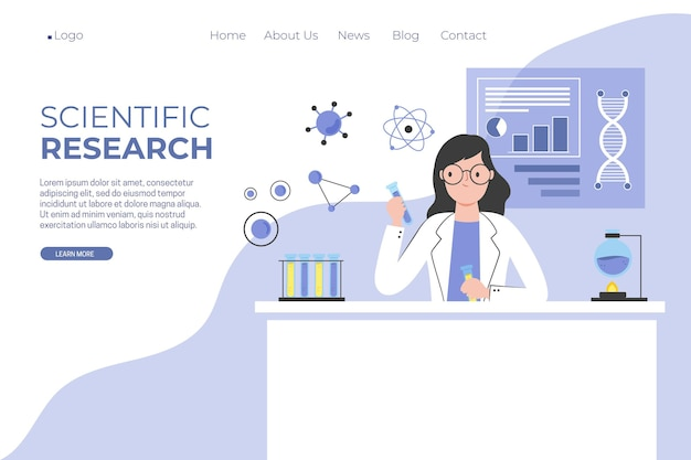 Scientific research landing page template Free Vector