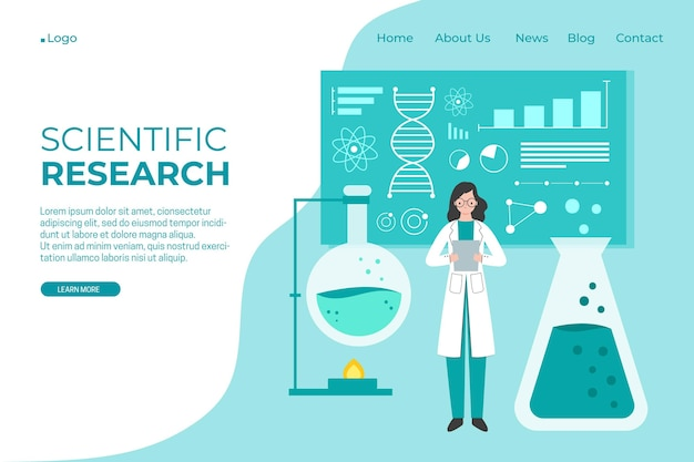 Scientific research landing page Free Vector