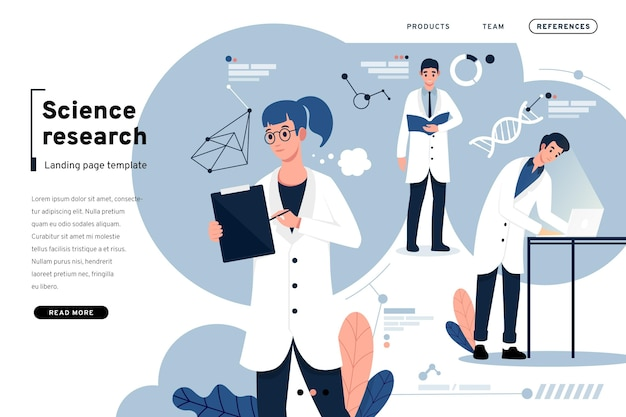 Scientific research and people landing page Free Vector