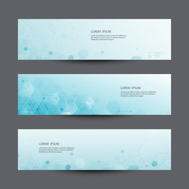 Scientific set of modern technology vector banners. Premium Vector