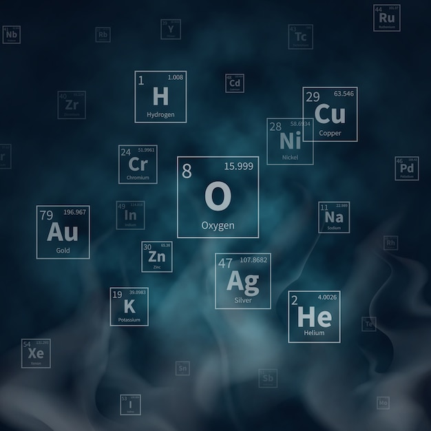 Scientific vector background with chemical elements symbols and white smoke Premium Vector