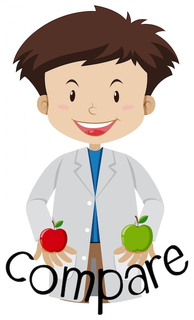 A scientist compare between two apples Free Vector