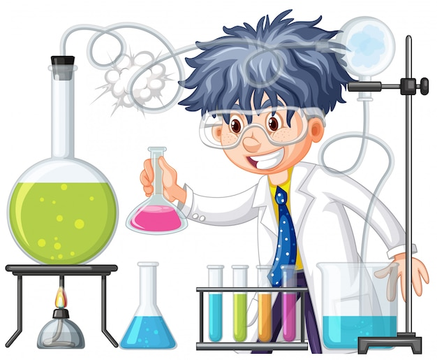 Scientist doing experiment in science lab Free Vector