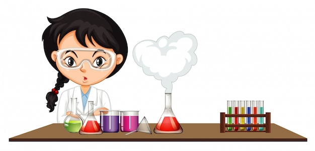 Scientist doing experiment with chemicals Free Vector