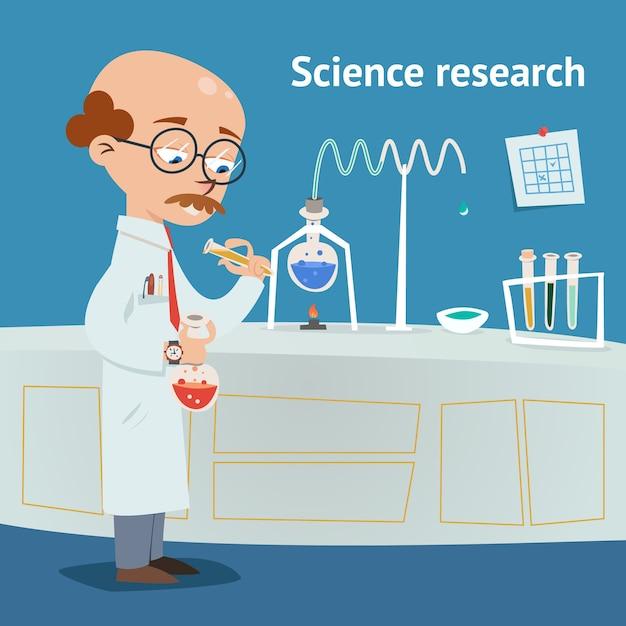 Ученый, проводящий исследования в химической лаборатории с различными экспериментами, наливает раствор из пробирки в стакан. векторная иллюстрация Бесплатные векторы