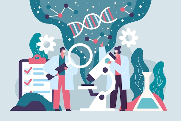 Scientist holding dna molecules concept Free Vector