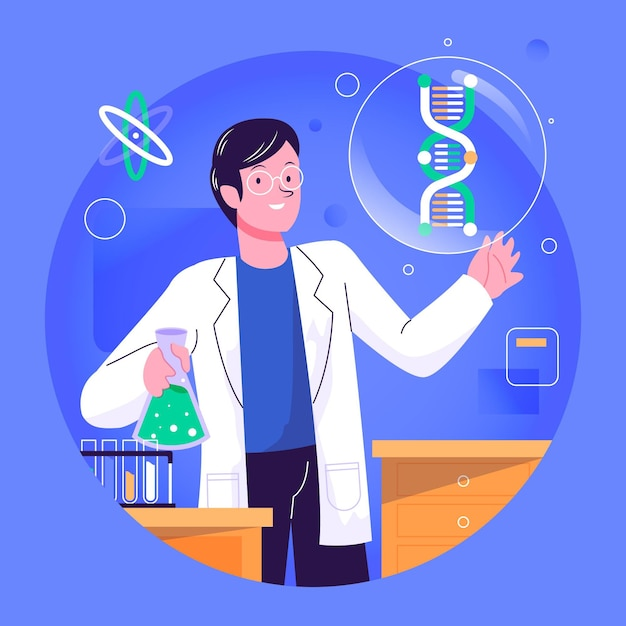 Scientist holding dna molecules illustration Free Vector