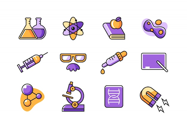 Scientist icon set Premium Vector