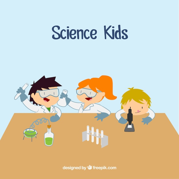 scientist kids cartoons in the laboratory free vector - Kids Cartoons Free