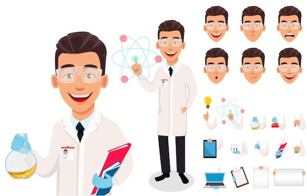 Scientist man. handsome cartoon character Premium Vector