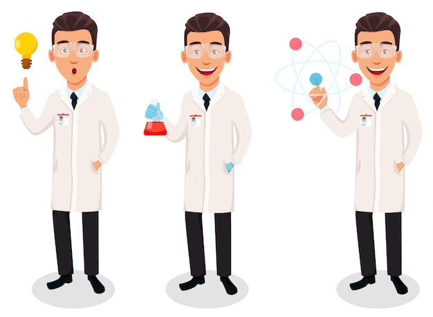 Scientist man, handsome cartoon character Premium Vector