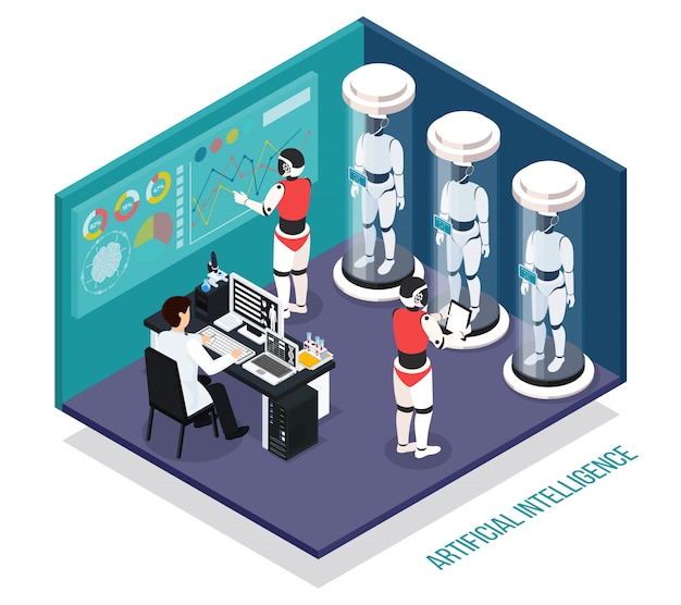 Scientist near computer during testing of robots droids in laboratory  isometric composition Free Vector