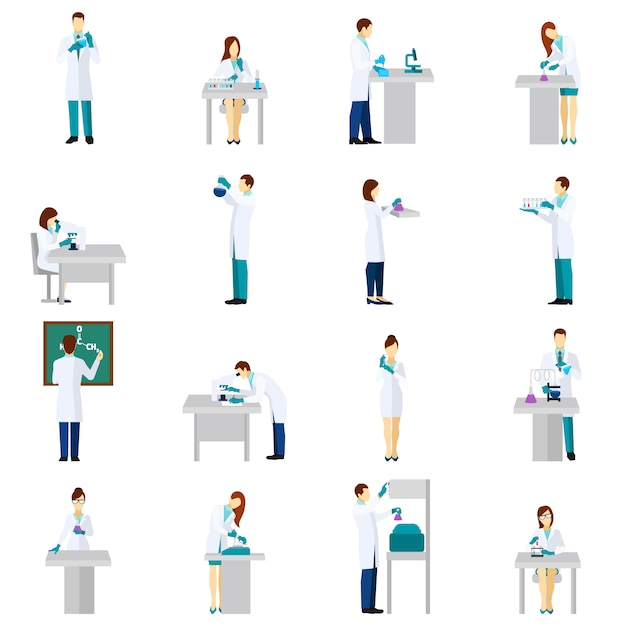 Scientist person flat set Free Vector