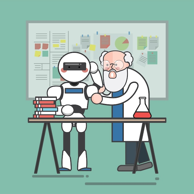 Scientist teaching a robot Free Vector