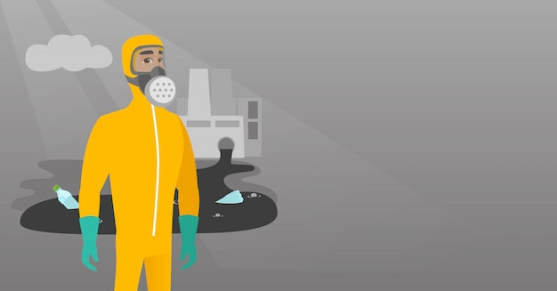 Scientist wearing radiation protection suit. Premium Vector