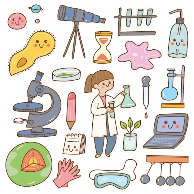 Scientist with laboratory equipment cartoon Premium Vector