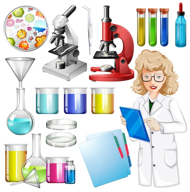 Scientist with science equipment Free Vector
