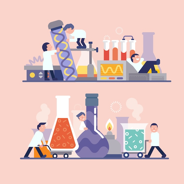 Scientist working in laboratory Premium Vector