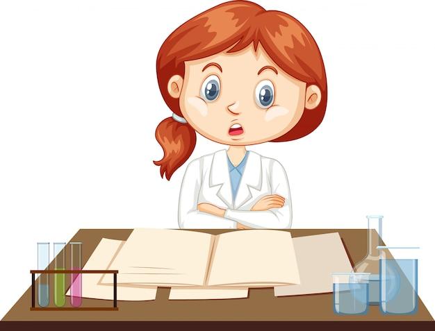 Ученый работает на столе Бесплатные векторы