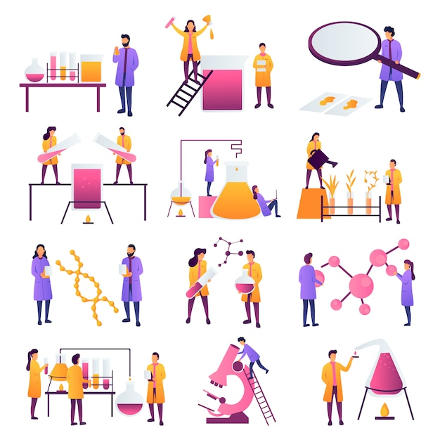Scientist working work in scientific medical chemical or biological lab setting experiments. biology, physics and chemistry education concept. engineers making research and experiments. - stock vector Premium Vector