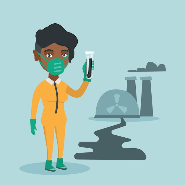 Scientist in yellow protective suit with test tube Premium Vector