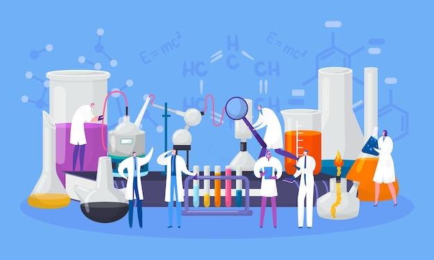 Ученые персонажей в химической лаборатории проводят эксперимент в области науки, иллюстрации. научные исследования, лаборатория с колбами и микроскопами, пробирки. химия и биология, образование. Premium векторы