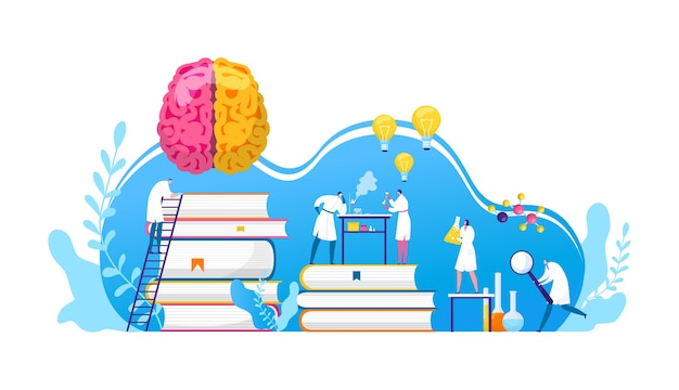 Scientists discovery research in chemistry, biology or medicine . brain science researching labaratory. scientifical research lab innovation. idea light bulbs and brain discoverers. Premium Vector
