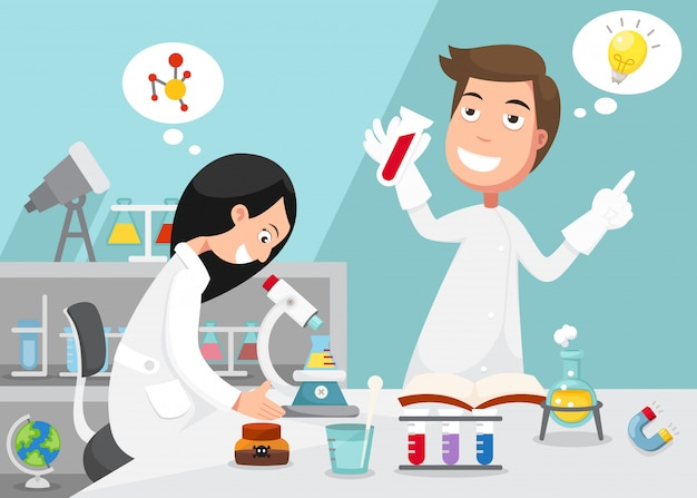 Scientists doing experiment surrounded by lab equipment Premium Vector