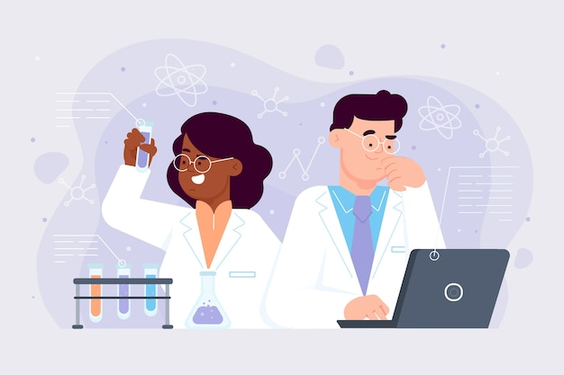 Scientists female and male working together Free Vector