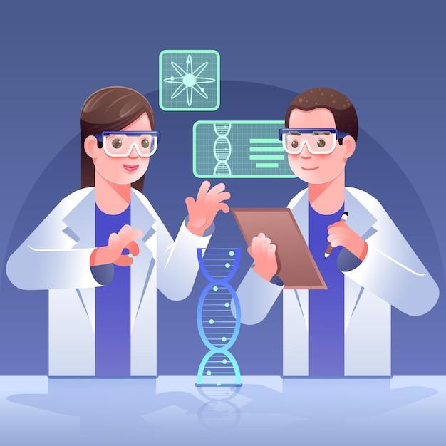 Ученые, имеющие концепцию молекул днк Бесплатные векторы