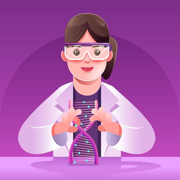 Ученые, занимающиеся разработкой молекул днк Бесплатные векторы