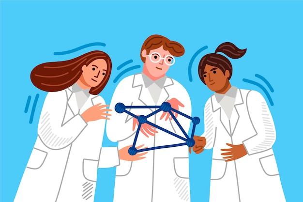 Ученые, держащие молекулы днк Бесплатные векторы