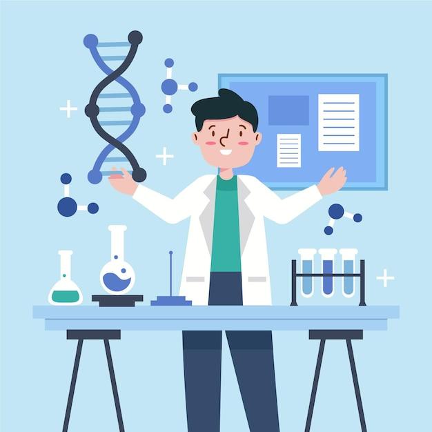 Ученые, держащие молекулы днк Premium векторы