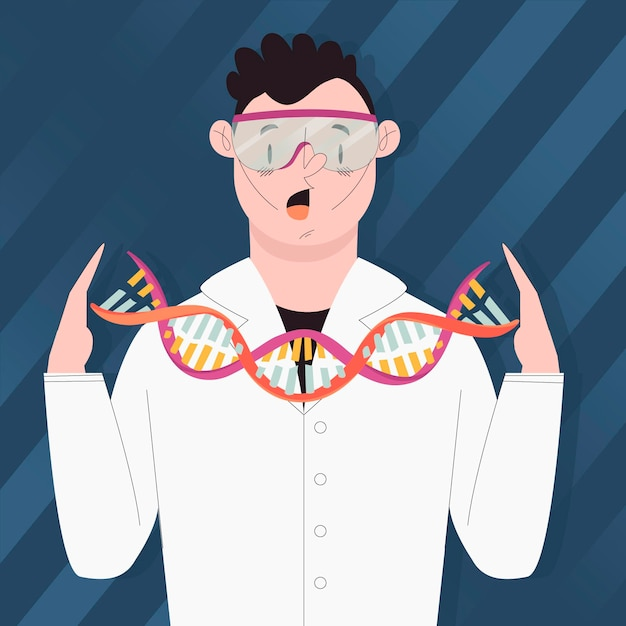 Scientists holding dna molecules Free Vector