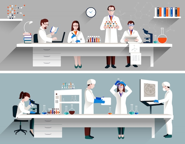 Scientists in lab concept Free Vector