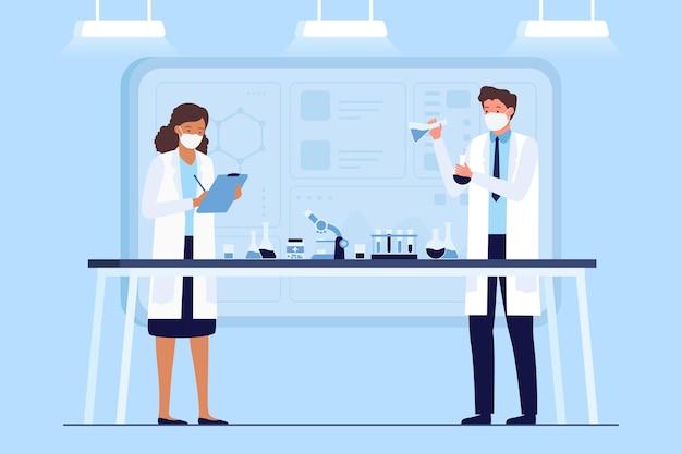 Scienziati nel concetto di vaccino da laboratorio Vettore gratuito