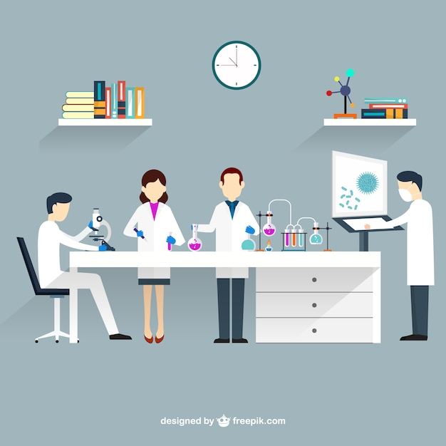 Scientists in lab Free Vector