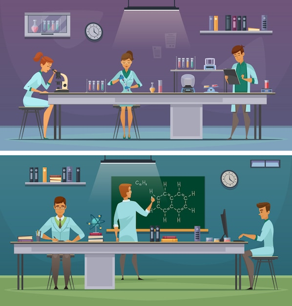 Scientists and laboratory assistants working in lab and office 2 horizontal retro cartoon banners Free Vector