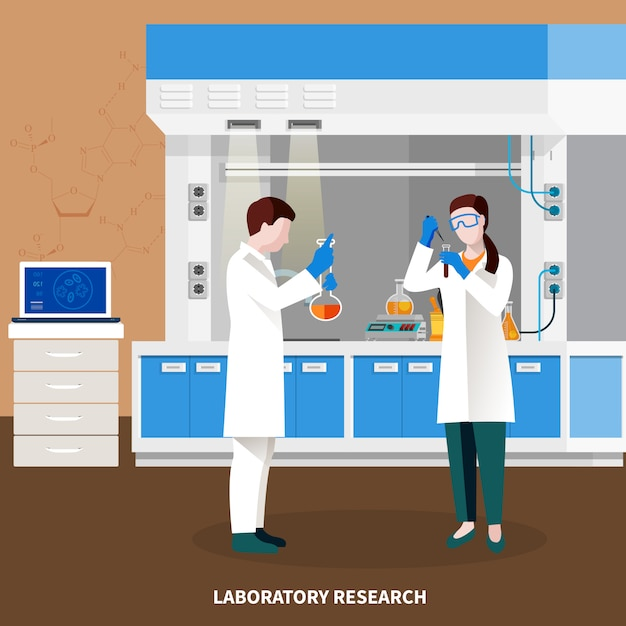 Scientists people multicolored composition Free Vector