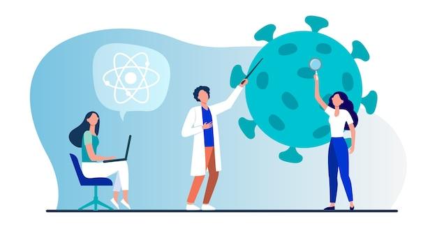 Ученые изучают коронавирус. команда экспертов делает медицинские исследования плоской векторной иллюстрации. вирус, пандемия, наука Бесплатные векторы