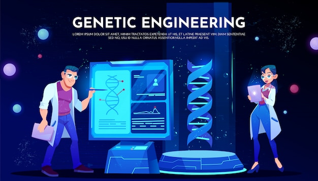 Scientists in white robes study dna on screen Free Vector