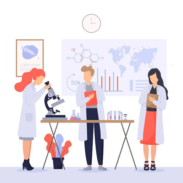 Scientists working concept Free Vector